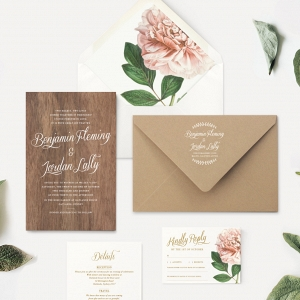 Wood Wedding Invitation & Kraft Paper Envelope