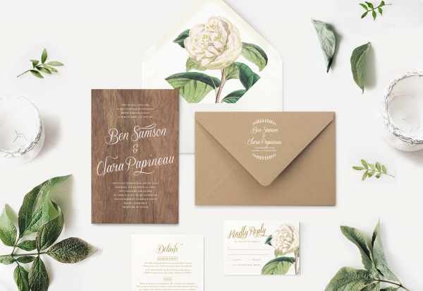 Wood Wedding Invitation & Kraft Paper Envelope