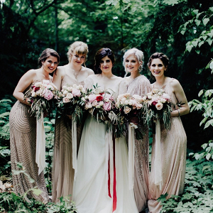 Gold bridal party