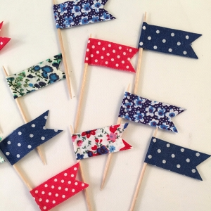 Red, White and Blue Flag Cup Cake Toppers