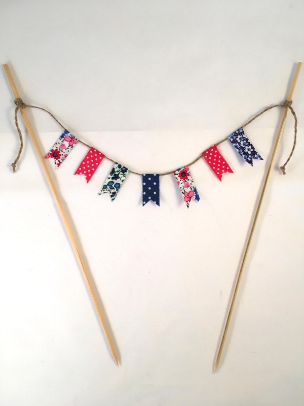 Red, White and Blue Bunting Cake Topper