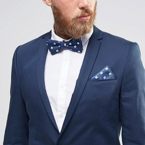Red, White & Blue Floral Bow Tie & Pocket Square