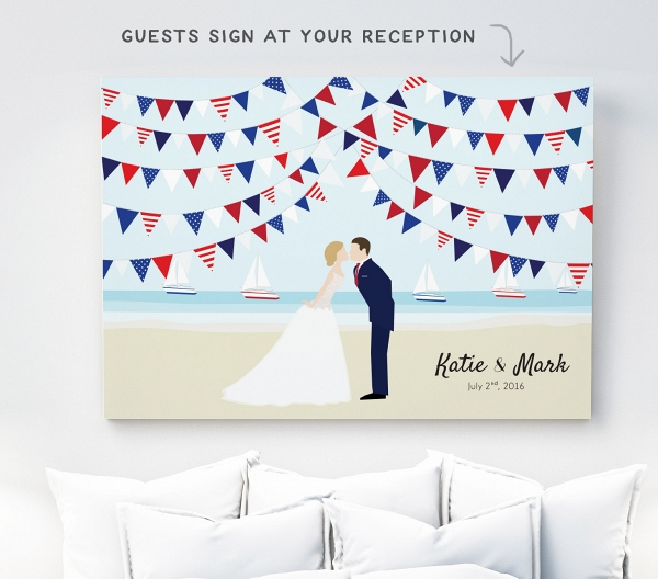 Red White & Blue Wedding Guest Book Canvas