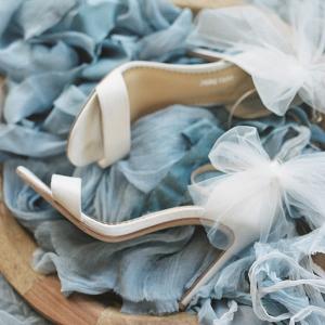 Tulle bridal heels