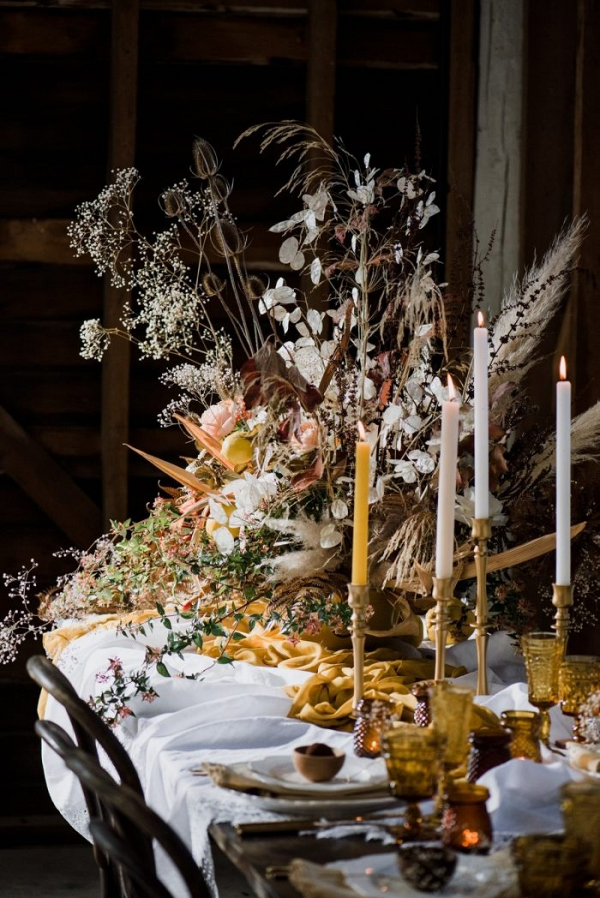 Organic fall tablescape with dried flowers