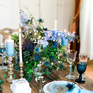 Blue Wedding Floral Centerpiece