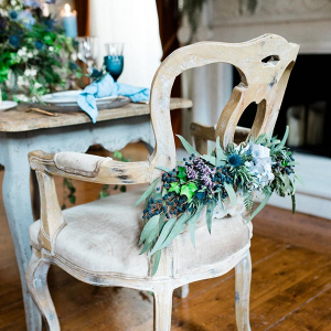 Blue Floral Wedding Chair Decor