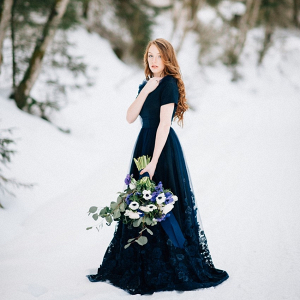 Romantic snowy bride