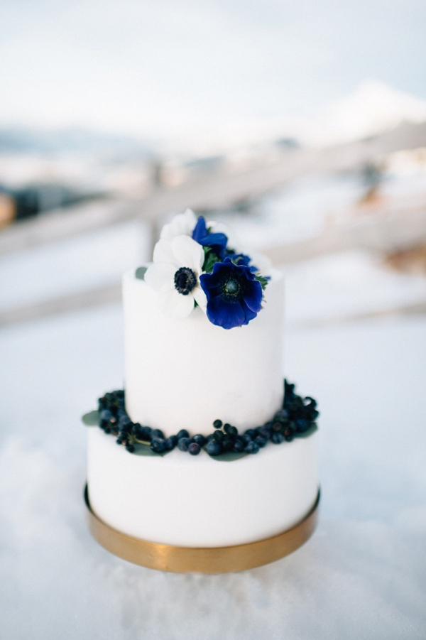 Small white and blue wedding cake