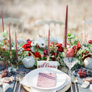 Red and slate blue tablescape