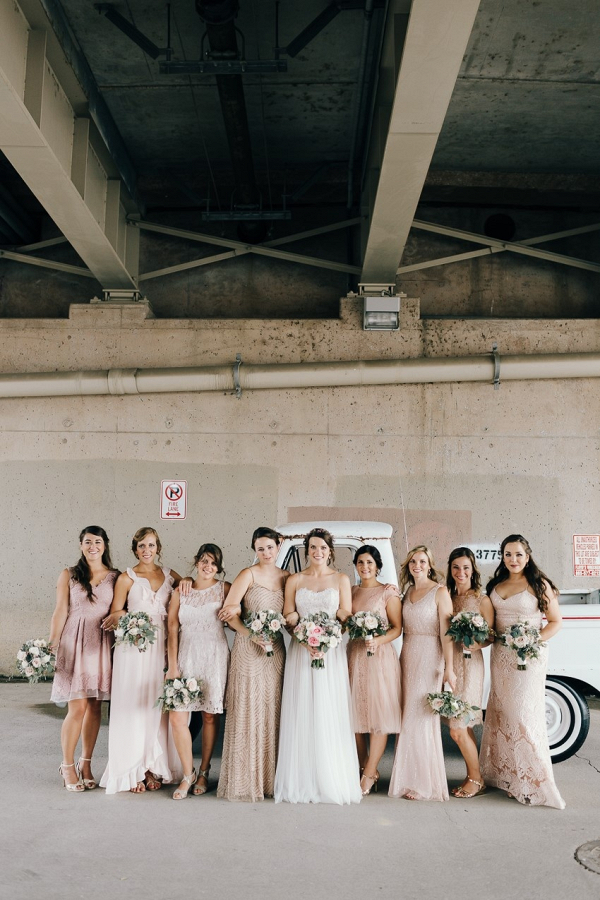 Mismatched Pink Bridesmaids
