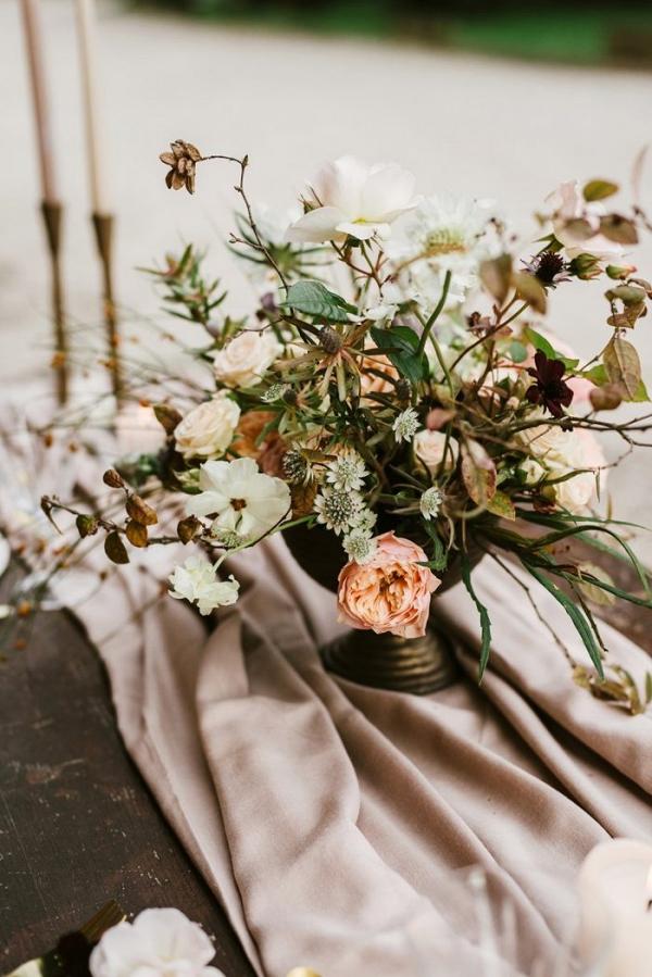 Romantic peach floral centerpiece
