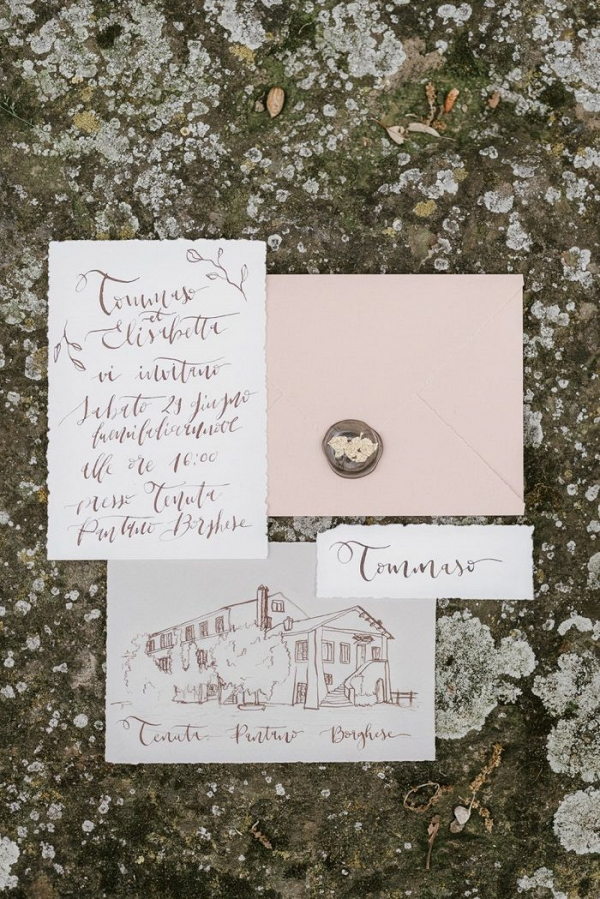 Illustrated calligraphy wedding invitation