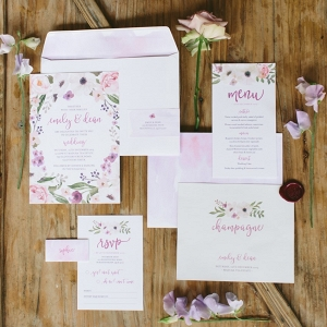 Floral Watercolor Wedding Invitation Suite