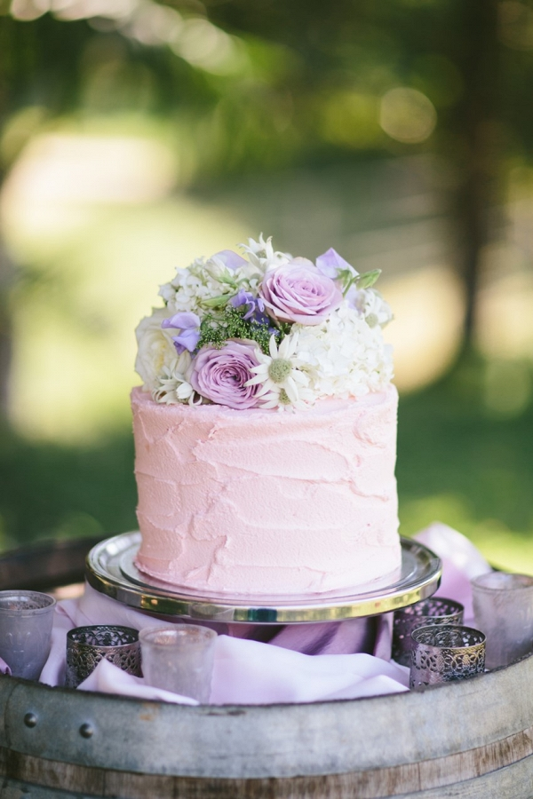 Single Tier Floral Topped Wedding Cake