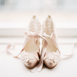 Pink lace wedding heels