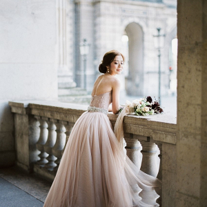 Bride in pink tulle wedding dress