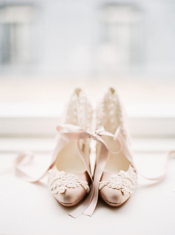 Pink lace wedding heels