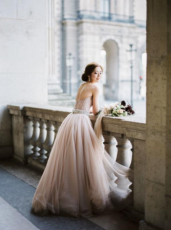 Bride in pink tulle wedding dress