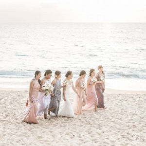 Mismatched pink and lavender bridesmaid dresses