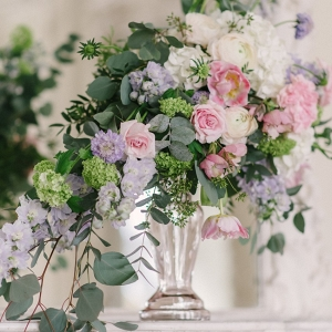 Pastel Pink & Purple Wedding Floral Centerpiece