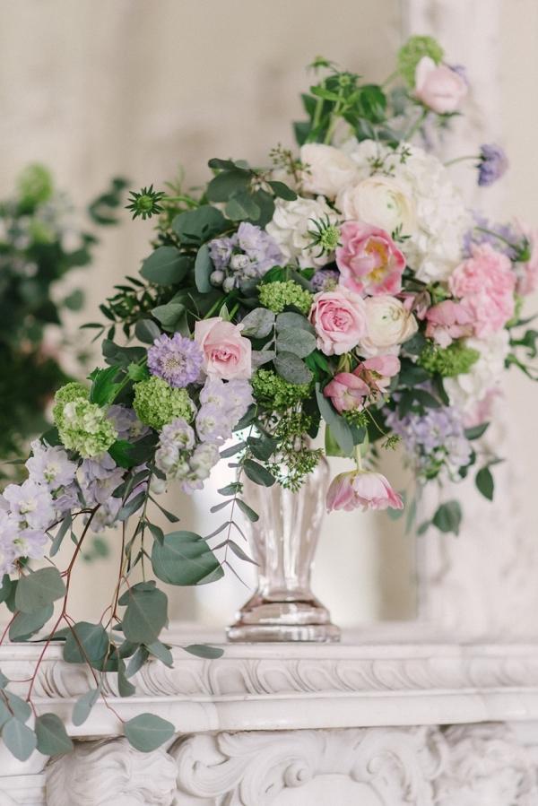 Pastel Pink & Purple Wedding Floral Centerpiece