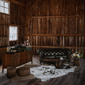 Vintage barn wedding reception lounge area