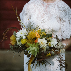 Rustic yellow bridal bouquet
