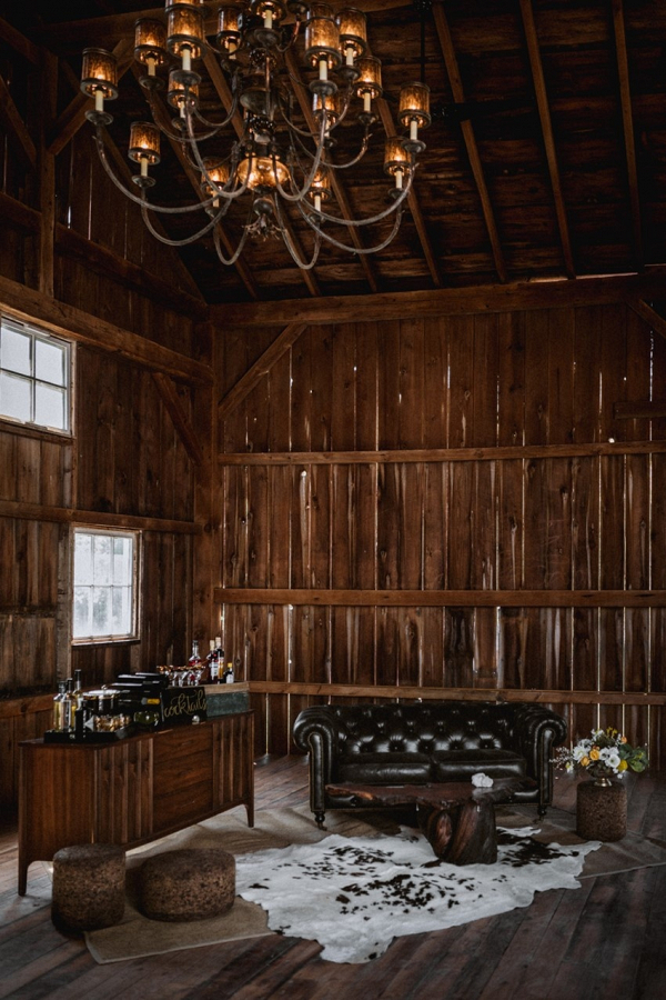 Vintage barn wedding reception lounge area