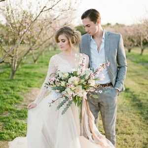 Bride & Groom Spring Orchard Elopement