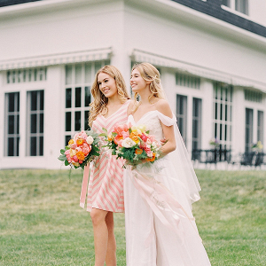 Spring bride and bridesmaid
