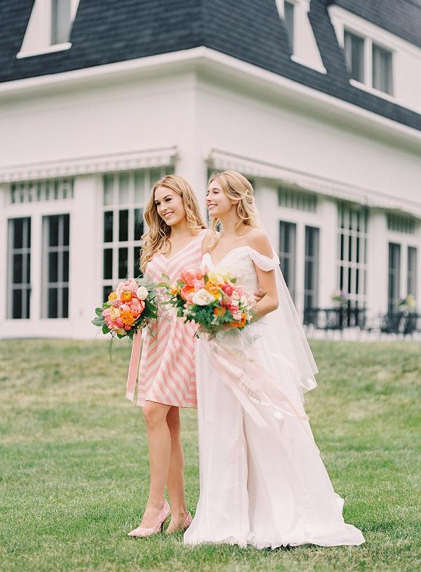 Spring bride and bridesmaid