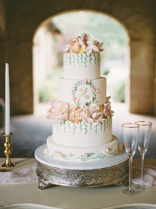 romantic wedding cakes garden wedding inspiration aisle society 19255