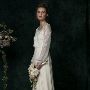 Long Sleeved Vintage Inspired Wedding Dress from SAJA Wedding