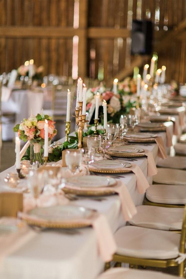 Elegant Barn Wedding Reception Decor