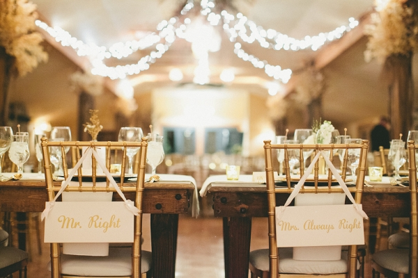Romantic Gold Winter Wedding Reception