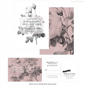 Modern Black & White Rose Wedding Invitation Suite