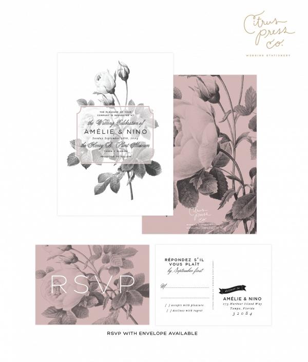 Modern Black & White Rose Wedding Invitation Suite