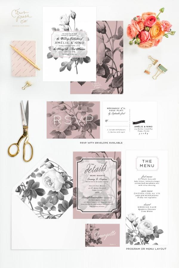 Modern Black & White Rose Wedding Stationery Suite