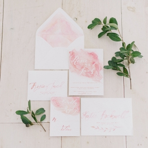 Watercolour Calligraphy Wedding Invitation Suite