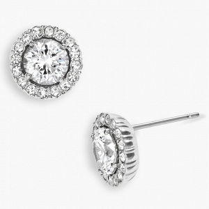 Round Cubic Zirconia Halo Stud Earrings