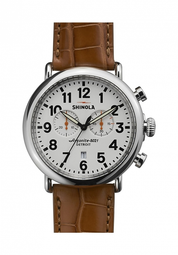 'The Runwell Chrono' Leather Strap Watch, 47mm