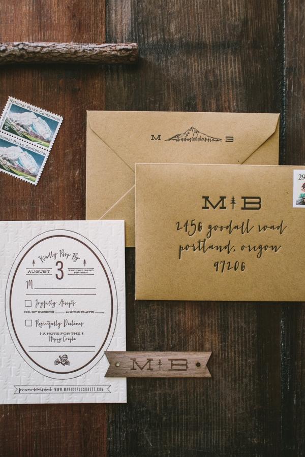 Rustic Mountain Letterpress Wedding RSVP