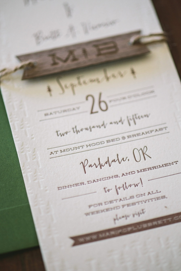 Rustic Mountain Letterpress Wedding Invitation Suite