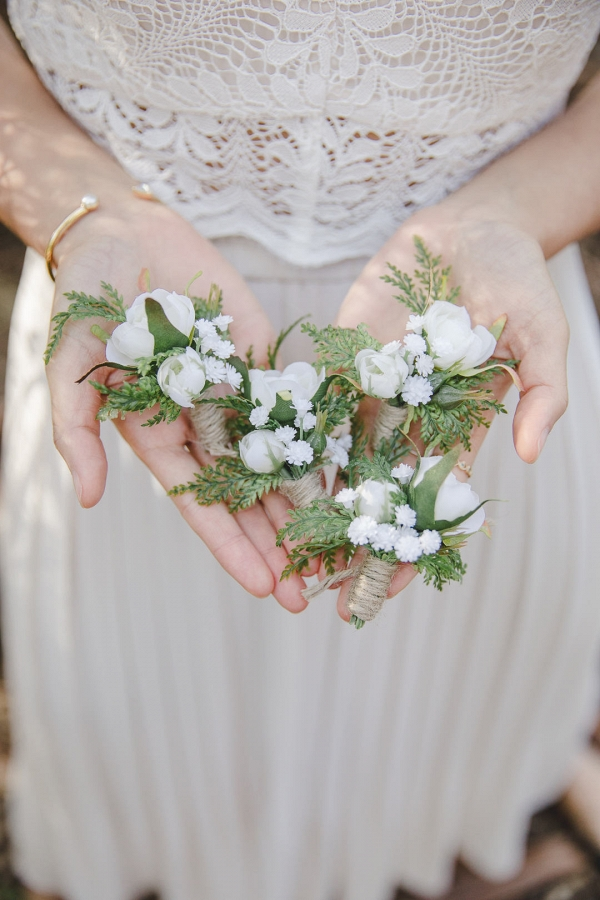 White Floral & Greenery Rustic Boutonniere