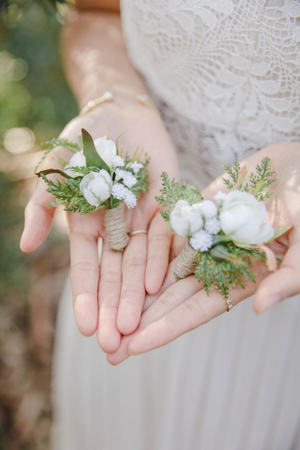 Rustic White Flower & Greenery Boutonnieres