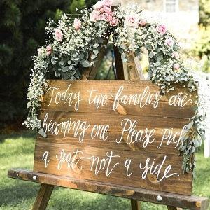 Rustic Wedding Calligraphy Seating Sign