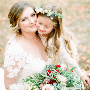 Bride and flower girl portrait