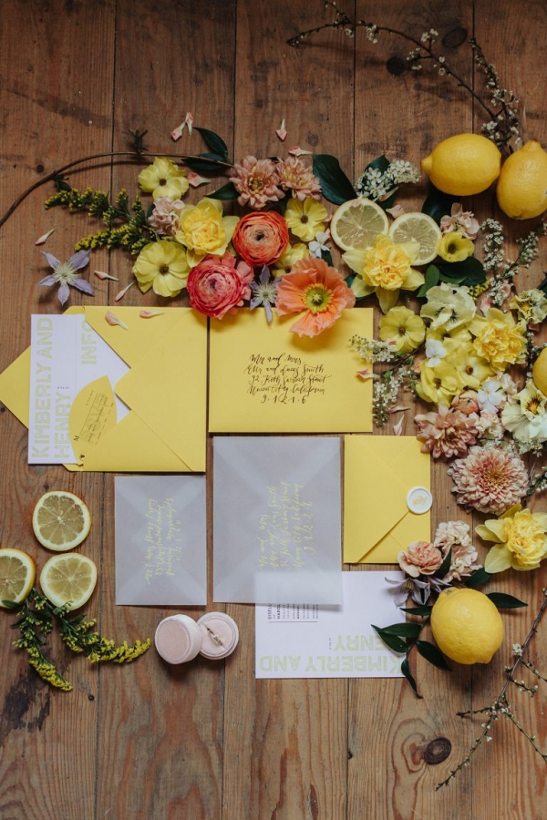Modern yellow wedding invitation