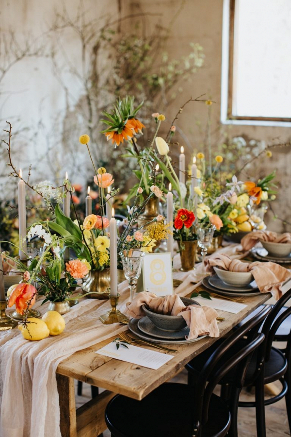 Colorful summer wedding tablescape